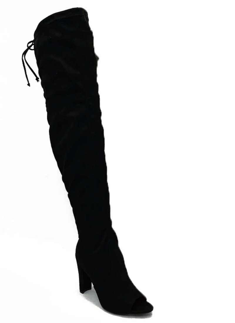 Wild Diva Adore-01 Black Suede Over The Knee Open Toe Heeled Boot