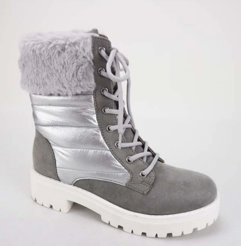 Bamboo Wildone-51 Grey Laceup Combat Boots