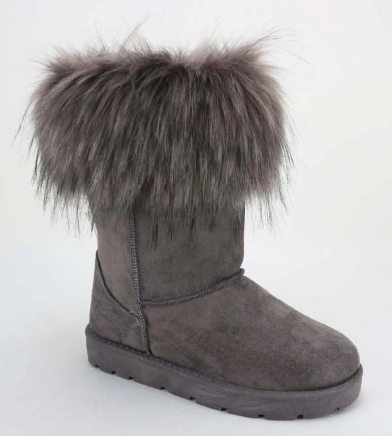 Bamboo Frozen-02 Grey Fur Lined Boots