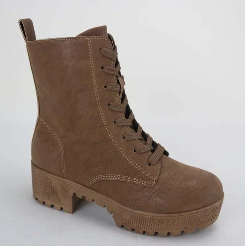 Bamboo Powerful-47 Tan Suede Platform Lace Up Combat Boots