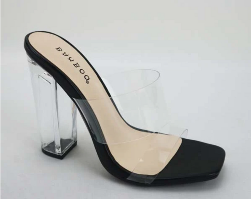 Bamboo Slash-02 Black Double Clear Band Slide On Heels