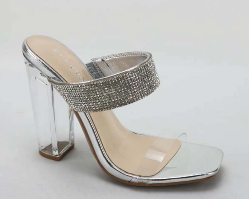 Bamboo Slash-03 Silver Double Band Slide On Heels With Rihnestone Band