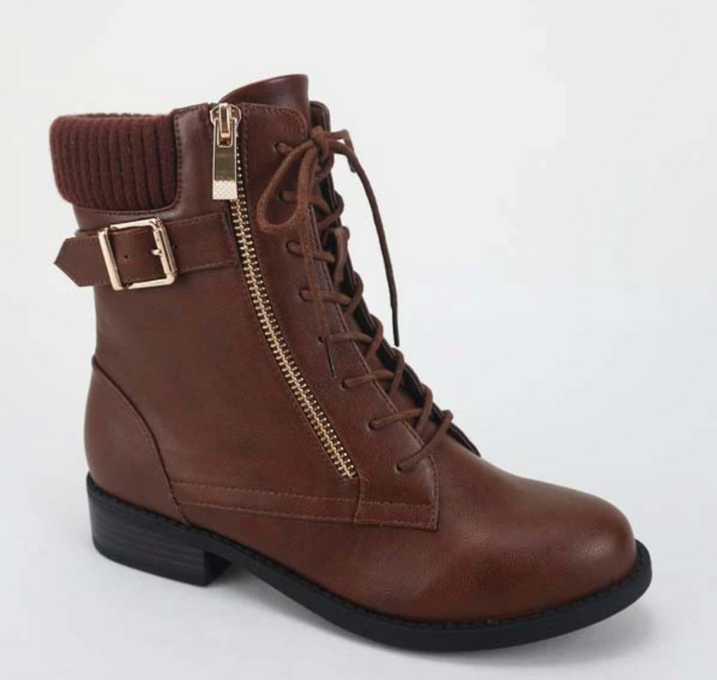 Bamboo Pilot-71 Chestnut Lace-up Side Zipper Strap Bootie