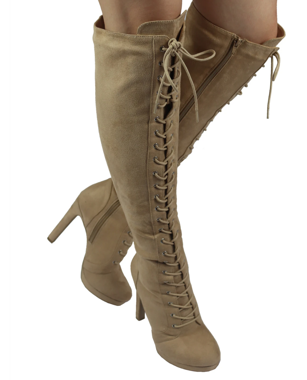 Wild Diva Yala-04 Taupe Lace-up Over The Knee Platform Heeled Boots