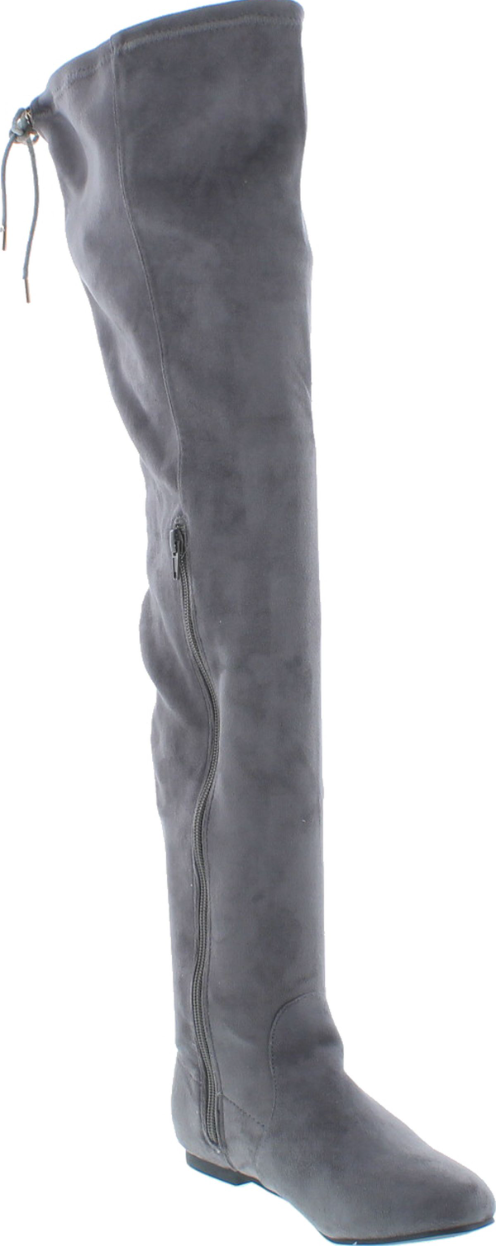 Nature Breeze Vickie-41TH Grey Su Flat Over-the-Knee Boot