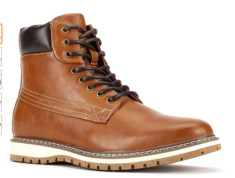 JXSN 1705 Light Brown Men's Casual Dress Lace-up Boots