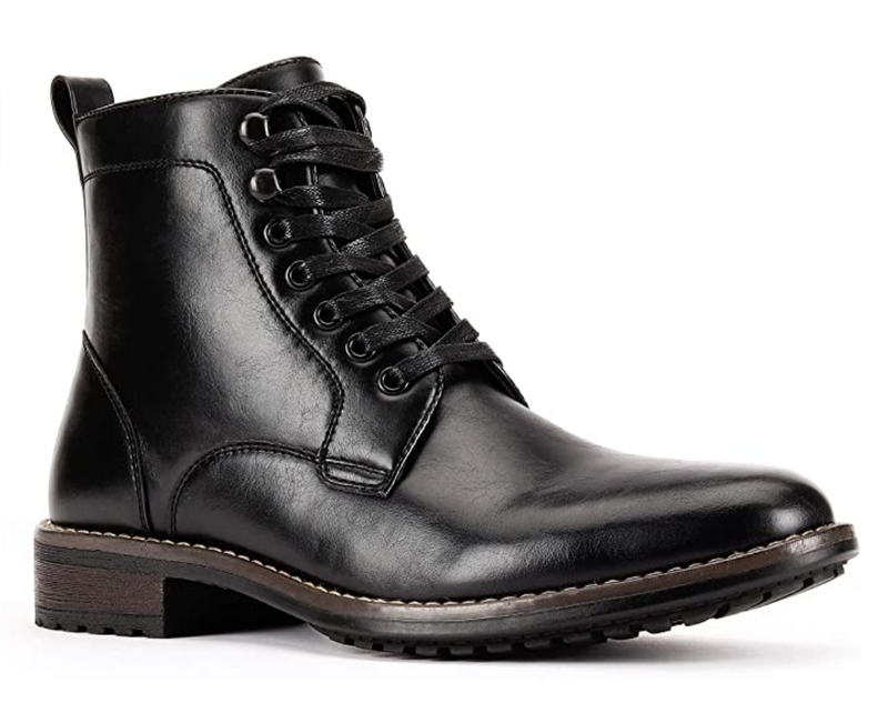 JXSN 2052 Black Men's Combat Dress Lace-up Boots