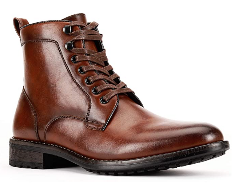 JXSN 2052 Brown Men's Combat Dress Lace-up Boots