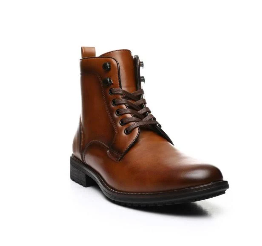JXSN 2052 Cognac Men's Combat Dress Lace-up Boots