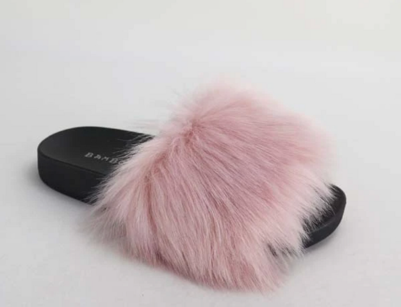 Bamboo Lindy-32 Blush One Band Furry Slide