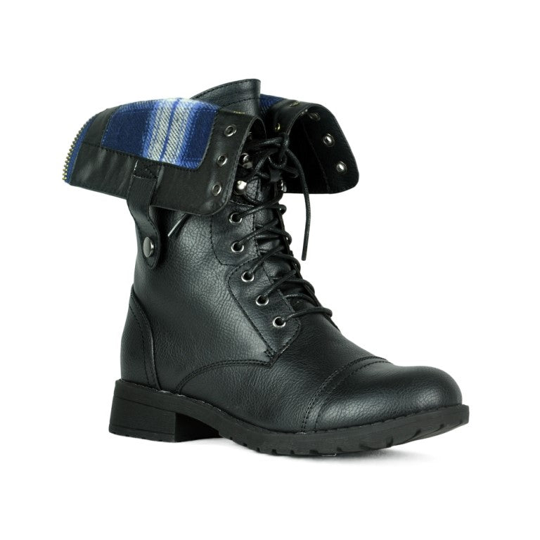 Refresh Terra-01 Plaid Lace Up Black Boots