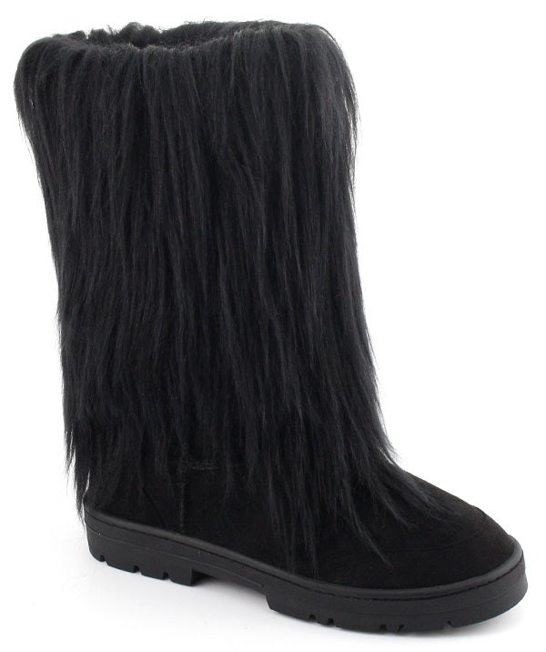 Nature Breeze Tibet-01 Black. All Over Faux Fur Mid Calf Boot