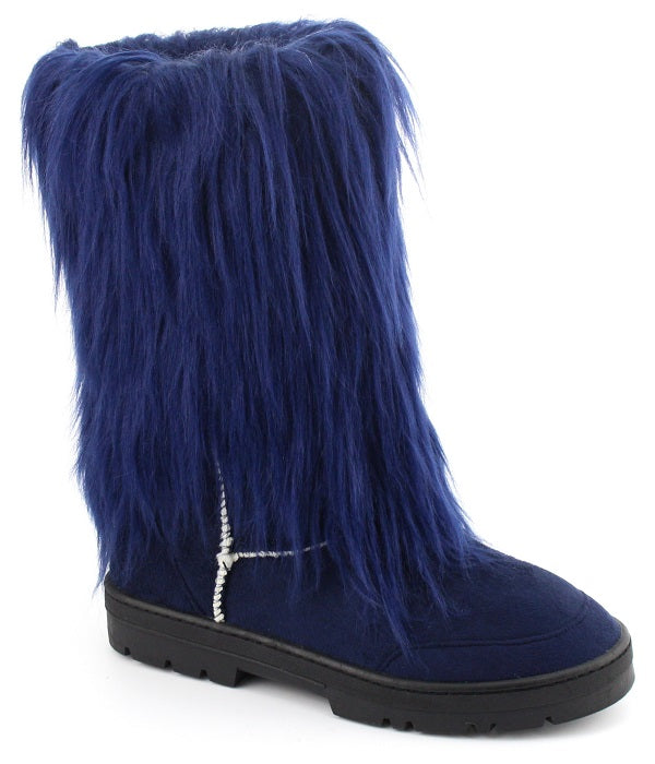 Nature Breeze Tibet-01 Navy All Over Faux Fur Mid Calf Boot