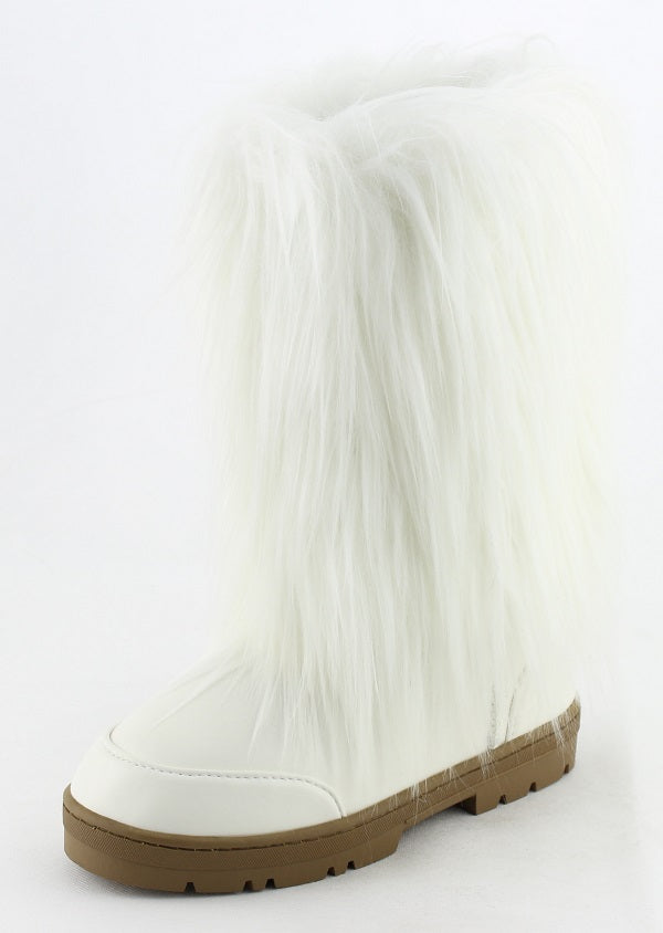 Nature Breeze Tibet-01 White All Over Faux Fur Mid Calf Boot