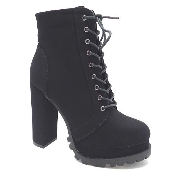 Wild Diva Vivian-01 Black Suede Lace Up Heeled Bootie