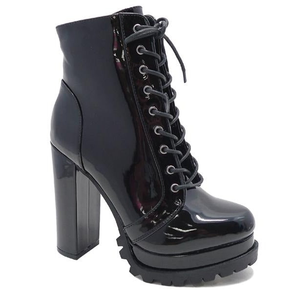 Wild Diva Vivian-01 Black Pat Lace Up Heeled Bootie