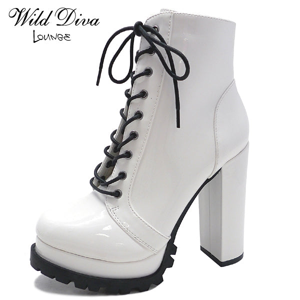 Wild Diva Vivian-01 White Pat Lace Up Heeled Bootie