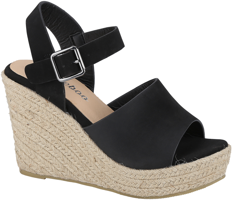Weebo Vivian-1 Black Wedge Sandal