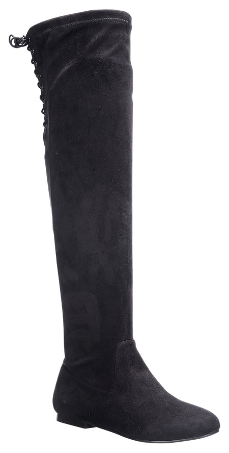 Nature Breeze Vickie-40ok Black Suede Over the Knee Boot