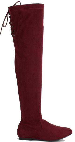 Nature Breeze Vickie-40ok Burgundy Suede Over the Knee Boot