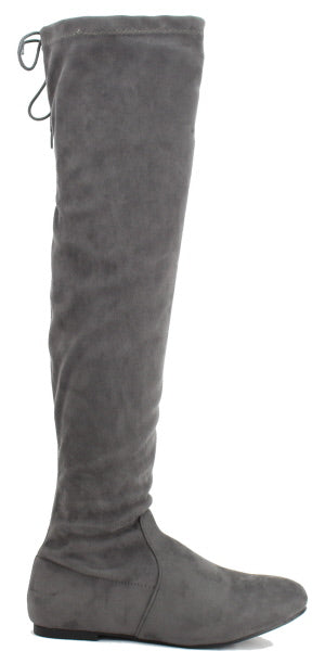 Nature Breeze Vickie-40ok Grey Suede Over the Knee Boot