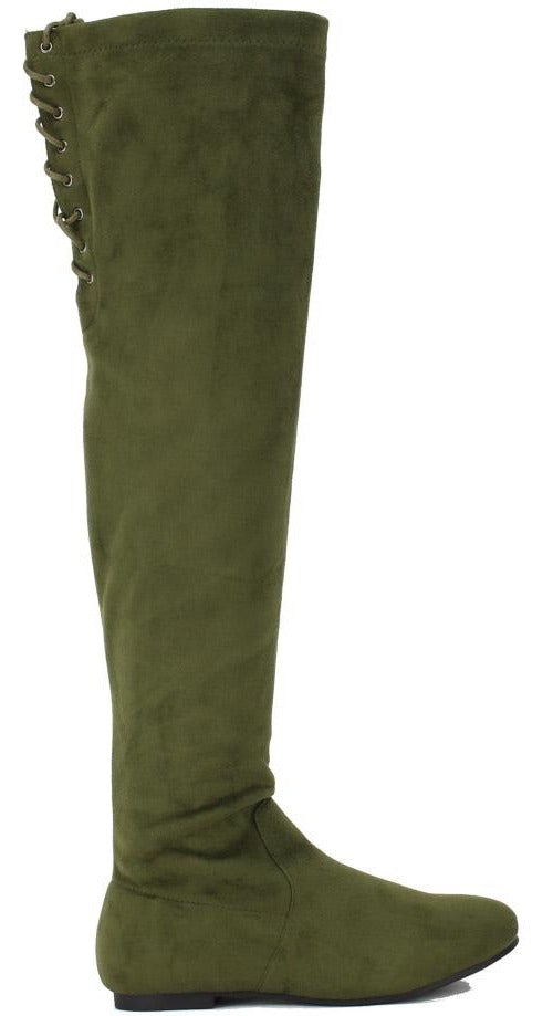 Nature Breeze Vickie-40ok Olive Suede Over the Knee Boot