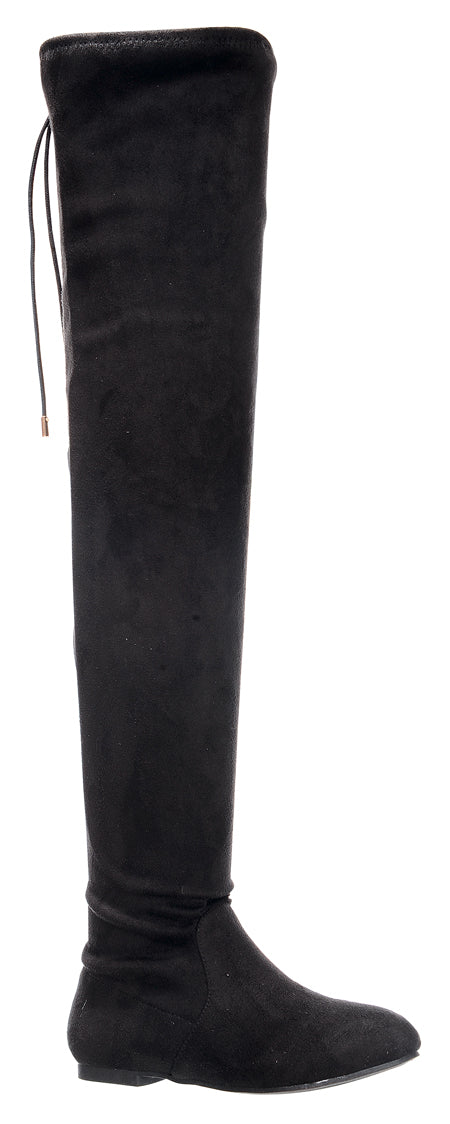 Nature Breeze Vickie-41TH Black Su Flat Over-the-Knee Boot