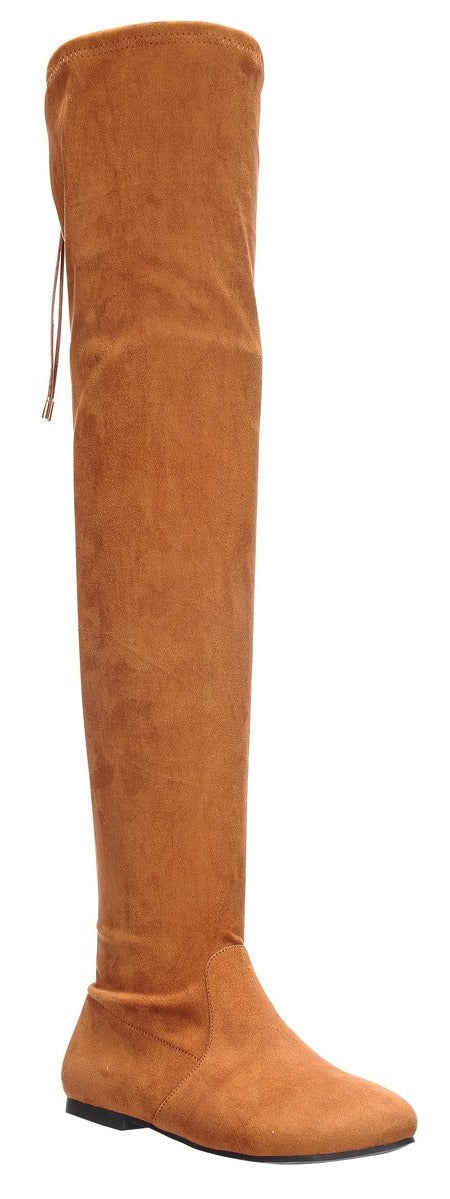 Nature Breeze Vickie-41TH Camel Su Flat Over-the-Knee Boot