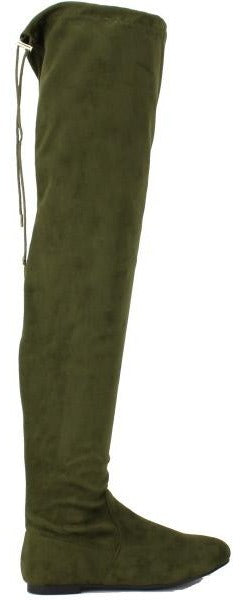 Nature Breeze Vickie-41TH Olive Su Flat Over-the-Knee Boot