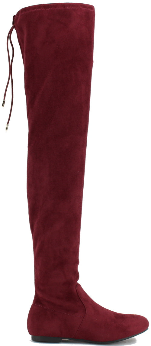 Nature Breeze Vickie-41TH Burgundy Su Flat Over-the-Knee Boot
