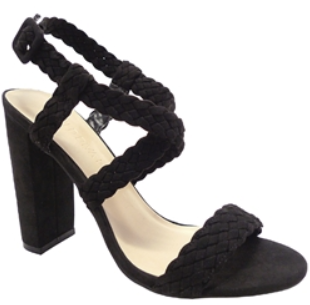 Wild Diva Morris-181 Black Open Toe Braided Thick Heel