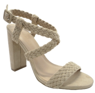 Wild Diva Morris-181 Natural Open Toe Braided Thick Heel