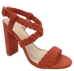 Wild Diva Morris-181 Orange-Red Open Toe Braided Thick Heel