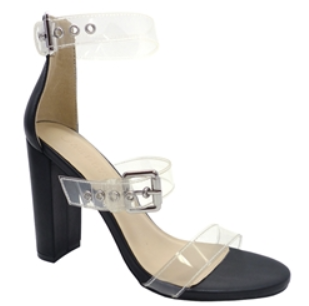 Wild Diva Morris-422 Black Open Toe 3 Strap w/ buckle Clear Heel