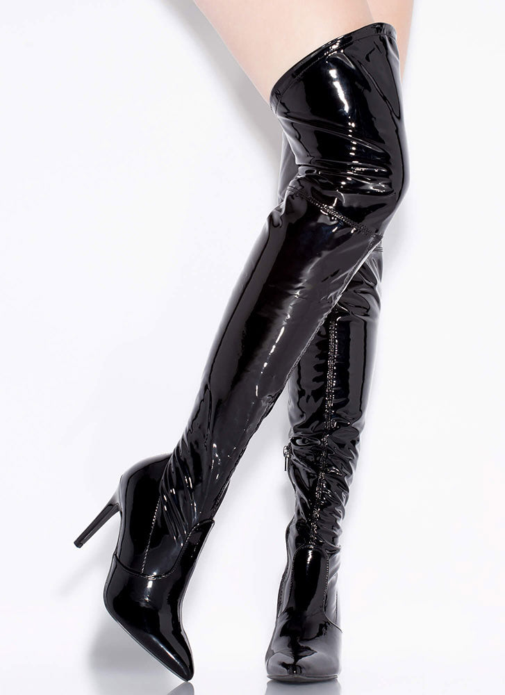 Wild Diva Akira-279 Black Faux Patent Thigh-High Boots