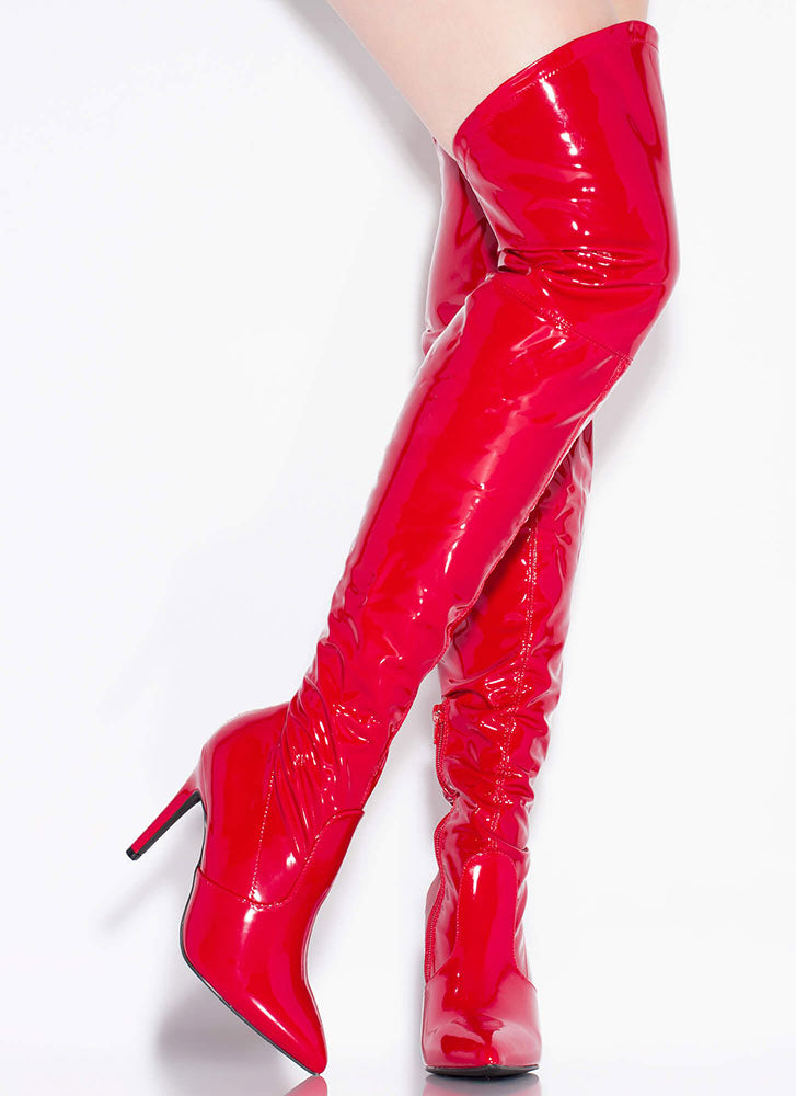 Wild Diva Akira-279 Red Faux Patent Thigh-High Boots
