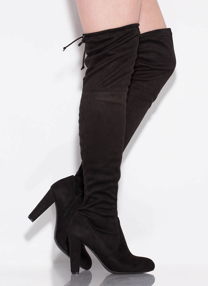 Wild Diva Amaya-01 Black Suede Over the Knee High Chunky Heel Boot
