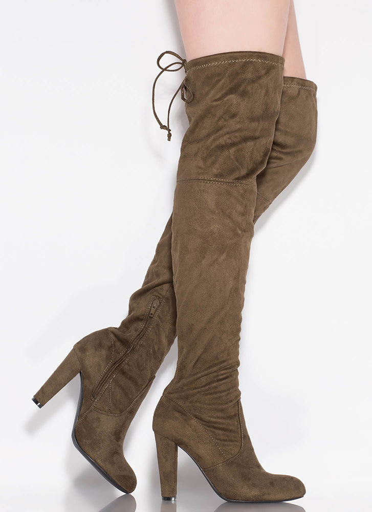 Wild Diva Amaya-01 Olive Suede Over the Knee High Chunky Heel Boot