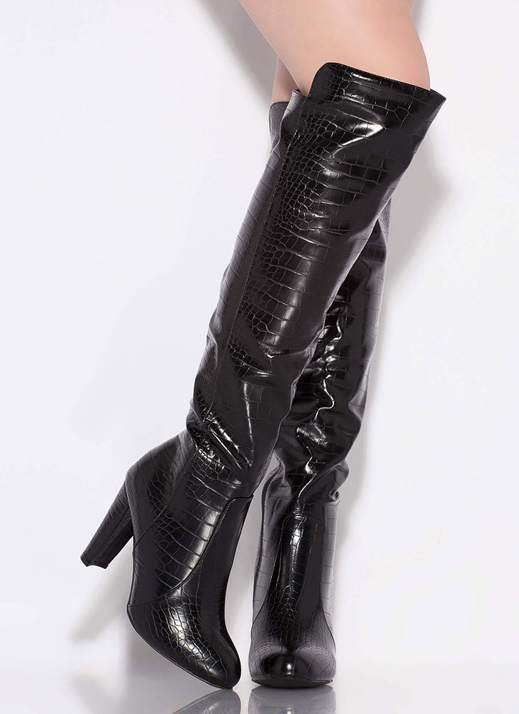 Wild Diva Amaya-94 Black Crocodile Over the Knee Heel Boot