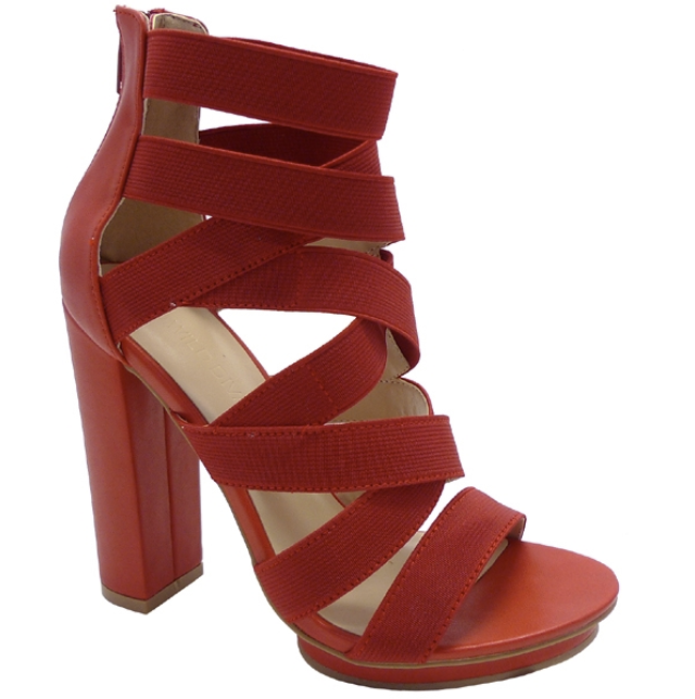 Wild Diva Pace-24 Red Open Toe Strappy Chunky Heel
