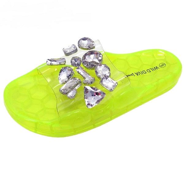 Wild Diva Yorky-01 Neon Yellow Clear Silver Stone Sandals