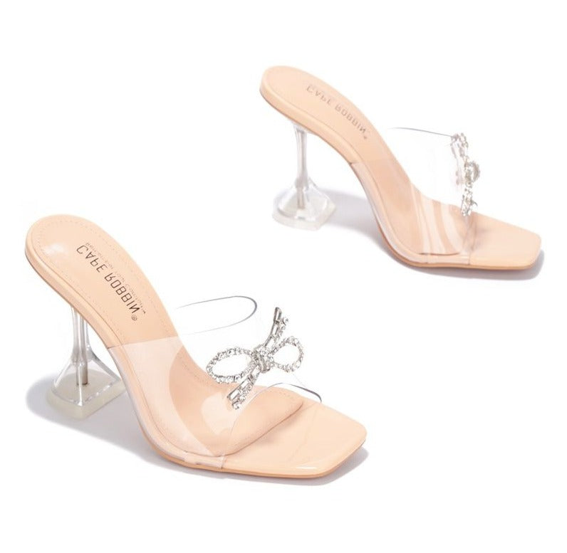 Cape Robbin Bad Guy Nude Slip On Clear Heel with Crystal