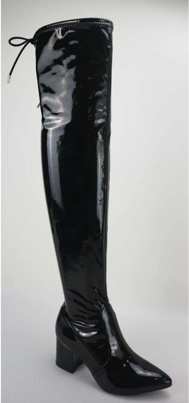 Bamboo Rapid-06 Black Pointy Toe Knee High Boots
