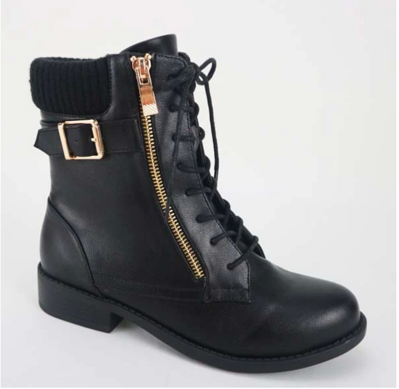 Bamboo Pilot-71 Black Lace-up Side Zipper Strap Bootie