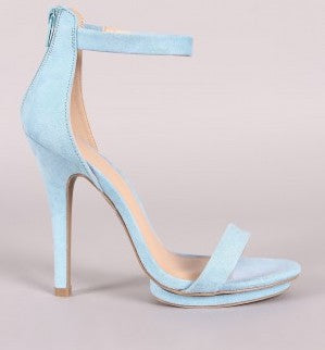 Wild Diva Amy-01 Light Blue Nub Open Toe Ankle Strap Platform Heel