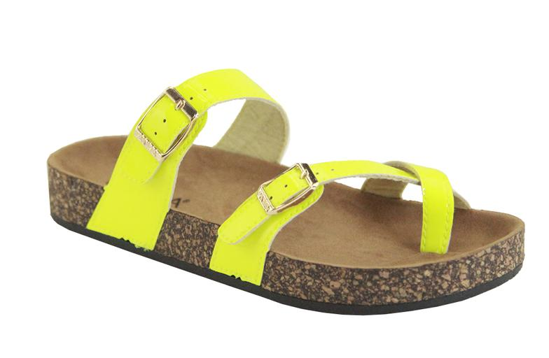 Anna Glory-510 Neon Yellow Toe Hold Strappy Sandal