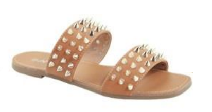 Anna Spikky Tan Double Strap sandal W/ Pointed Studs