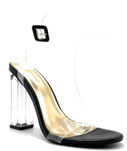 Bamboo Avenue-06 Black Open Toe Clear Chunky Transparent Heel.
