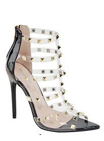 Bella Marie Liam-1 Black Pointed Studded Heels