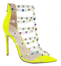 Bella Marie Liam-1 Neon Yellow Pointed Multi Colored Studded Heels